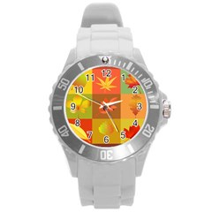 Autumn Leaves Colorful Fall Foliage Round Plastic Sport Watch (l) by Nexatart
