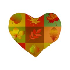 Autumn Leaves Colorful Fall Foliage Standard 16  Premium Heart Shape Cushions by Nexatart
