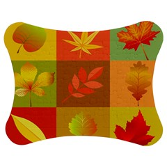 Autumn Leaves Colorful Fall Foliage Jigsaw Puzzle Photo Stand (bow) by Nexatart