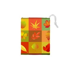 Autumn Leaves Colorful Fall Foliage Drawstring Pouches (xs)  by Nexatart