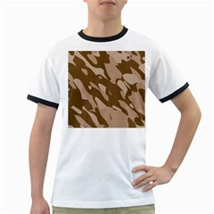 Background For Scrapbooking Or Other Beige And Brown Camouflage Patterns Ringer T Shirts