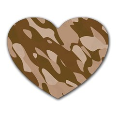 Background For Scrapbooking Or Other Beige And Brown Camouflage Patterns Heart Mousepads by Nexatart