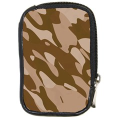 Background For Scrapbooking Or Other Beige And Brown Camouflage Patterns Compact Camera Cases by Nexatart
