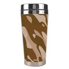 Background For Scrapbooking Or Other Beige And Brown Camouflage Patterns Stainless Steel Travel Tumblers by Nexatart