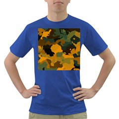Background For Scrapbooking Or Other Camouflage Patterns Orange And Green Dark T Shirt by Nexatart