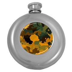 Background For Scrapbooking Or Other Camouflage Patterns Orange And Green Round Hip Flask (5 Oz) by Nexatart
