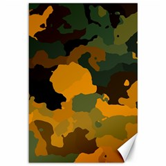 Background For Scrapbooking Or Other Camouflage Patterns Orange And Green Canvas 12  X 18   by Nexatart