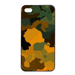 Background For Scrapbooking Or Other Camouflage Patterns Orange And Green Apple Iphone 4/4s Seamless Case (black) by Nexatart