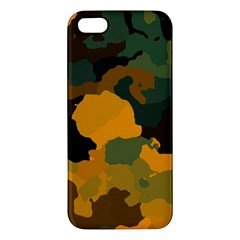 Background For Scrapbooking Or Other Camouflage Patterns Orange And Green Apple Iphone 5 Premium Hardshell Case by Nexatart