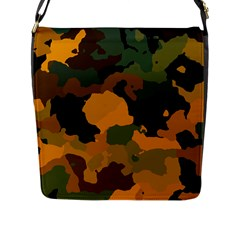 Background For Scrapbooking Or Other Camouflage Patterns Orange And Green Flap Messenger Bag (l)  by Nexatart