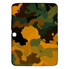 Background For Scrapbooking Or Other Camouflage Patterns Orange And Green Samsung Galaxy Tab 3 (10 1 ) P5200 Hardshell Case  by Nexatart