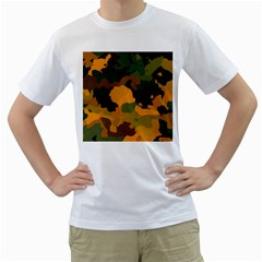 Background For Scrapbooking Or Other Camouflage Patterns Orange And Green Men s T Shirt (white)  by Nexatart