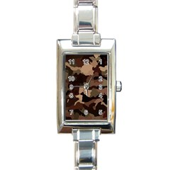 Background For Scrapbooking Or Other Camouflage Patterns Beige And Brown Rectangle Italian Charm Watch by Nexatart