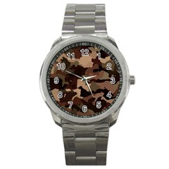 Background For Scrapbooking Or Other Camouflage Patterns Beige And Brown Sport Metal Watch by Nexatart