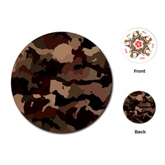 Background For Scrapbooking Or Other Camouflage Patterns Beige And Brown Playing Cards (round)  by Nexatart