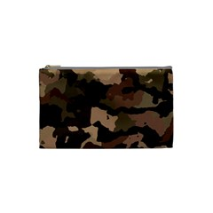 Background For Scrapbooking Or Other Camouflage Patterns Beige And Brown Cosmetic Bag (small)  by Nexatart