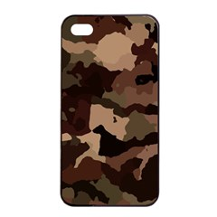 Background For Scrapbooking Or Other Camouflage Patterns Beige And Brown Apple Iphone 4/4s Seamless Case (black) by Nexatart