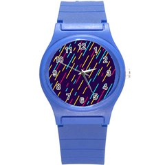 Background Lines Forms Round Plastic Sport Watch (s)