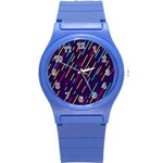 Background Lines Forms Round Plastic Sport Watch (S) Front
