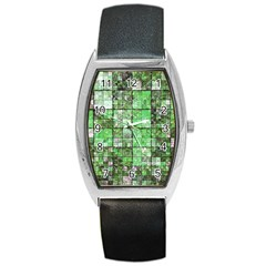 Background Of Green Squares Barrel Style Metal Watch by Nexatart