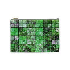 Background Of Green Squares Cosmetic Bag (medium)