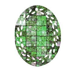 Background Of Green Squares Ornament (oval Filigree)