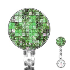 Background Of Green Squares Stainless Steel Nurses Watch by Nexatart