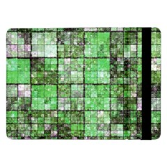 Background Of Green Squares Samsung Galaxy Tab Pro 12 2  Flip Case by Nexatart