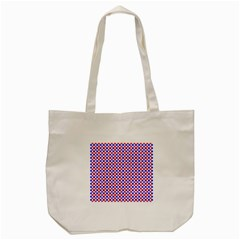 Blue Red Checkered Tote Bag (cream)
