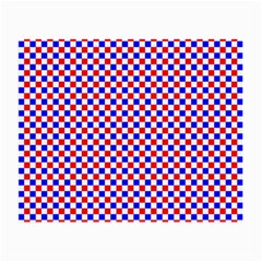 Blue Red Checkered Small Glasses Cloth by Nexatart