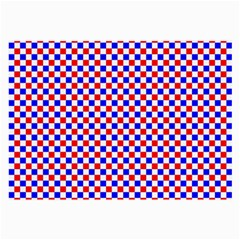 Blue Red Checkered Large Glasses Cloth (2 Side) by Nexatart