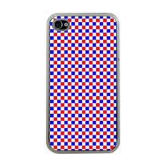 Blue Red Checkered Apple Iphone 4 Case (clear)