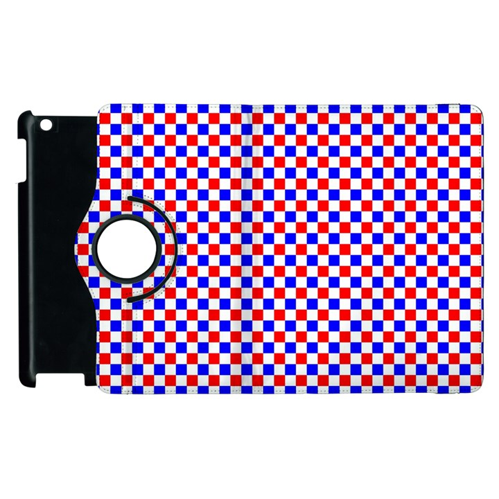 Blue Red Checkered Apple iPad 3/4 Flip 360 Case