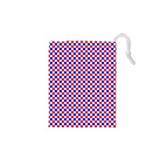 Blue Red Checkered Drawstring Pouches (xs)  by Nexatart