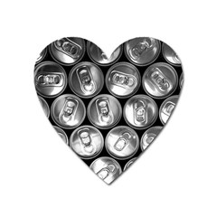 Black And White Doses Cans Fuzzy Drinks Heart Magnet by Nexatart