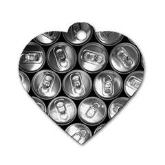 Black And White Doses Cans Fuzzy Drinks Dog Tag Heart (two Sides) by Nexatart