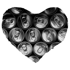 Black And White Doses Cans Fuzzy Drinks Large 19  Premium Flano Heart Shape Cushions by Nexatart