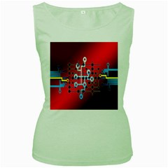 Board Circuits Trace Control Center Women s Green Tank Top by Nexatart
