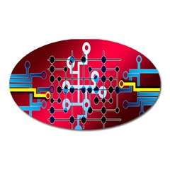 Board Circuits Trace Control Center Oval Magnet by Nexatart