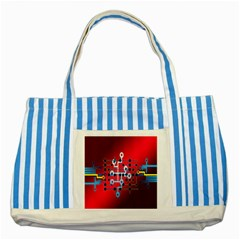 Board Circuits Trace Control Center Striped Blue Tote Bag by Nexatart