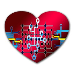 Board Circuits Trace Control Center Heart Mousepads by Nexatart
