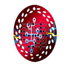 Board Circuits Trace Control Center Ornament (oval Filigree) by Nexatart