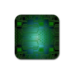 Board Conductors Circuits Rubber Coaster (square)  by Nexatart