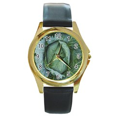 Bright Cabbage Color Dew Flora Round Gold Metal Watch