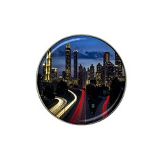Building And Red And Yellow Light Road Time Lapse Hat Clip Ball Marker (4 Pack) by Nexatart