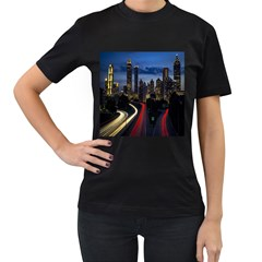 Building And Red And Yellow Light Road Time Lapse Women s T Shirt (black)