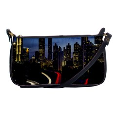Building And Red And Yellow Light Road Time Lapse Shoulder Clutch Bags by Nexatart