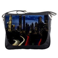 Building And Red And Yellow Light Road Time Lapse Messenger Bags