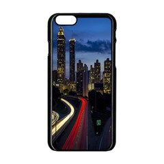 Building And Red And Yellow Light Road Time Lapse Apple Iphone 6/6s Black Enamel Case by Nexatart