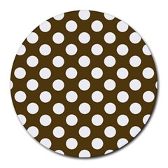 Brown Polkadot Background Round Mousepads by Nexatart
